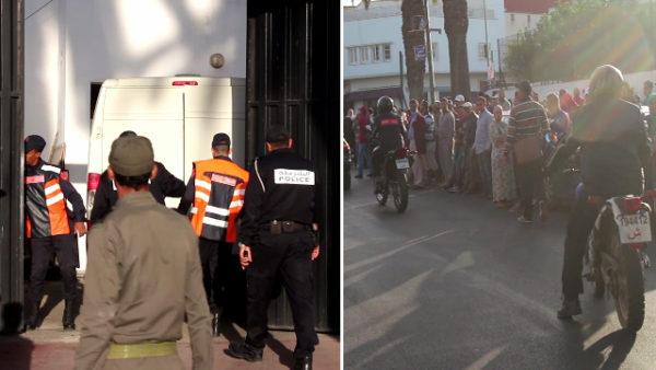 لحظة وصول نقابيوا سيارات الأجرة المعتقلين إلى المحكمة الابتدائية بالمحمدية واستقبالهم بالتصفيقات