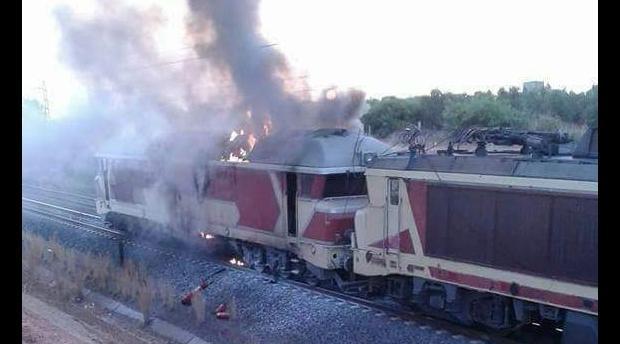 نشوب حريق في قطار قرب مدينة فاس