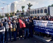 الدارالبيضاء … عمال  الخدمات الأرضية بمطار محمد الخامس ينفذون وقفة احتجاجية  أمام الخطوط الملكية المغربية
