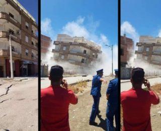 بالفيديو والصور …مشاهد مروعة لتشقق أراضي وانهيار منازل من عدة طوابق بسبب زلزال بالجزائر
