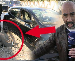 سقوط سيارة في بالوعة  مفتوحة بشارع بالمحمدية