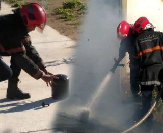 ياربي السلامة.. لحظة نجاة رجال المطافئ من انهيار سقف.. بعد عافية خايبة شعلات نواحي المحمدية