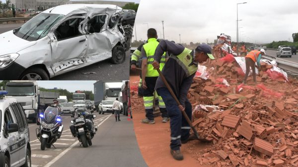 حادتة سير خطيرة تتسبب في انقطاع الطريق السيار المحمدية الدار البيضاء
